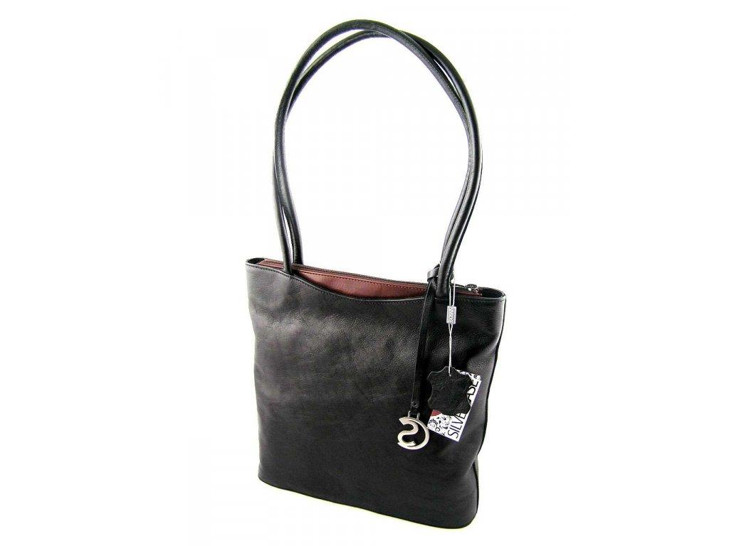 Vysoká kožená kabelka Silvercase - černo kaštanově hnědá