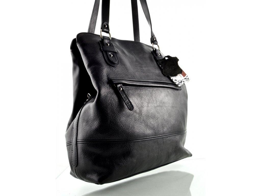 Kožený kabelkobatůžek Silvercase - černý