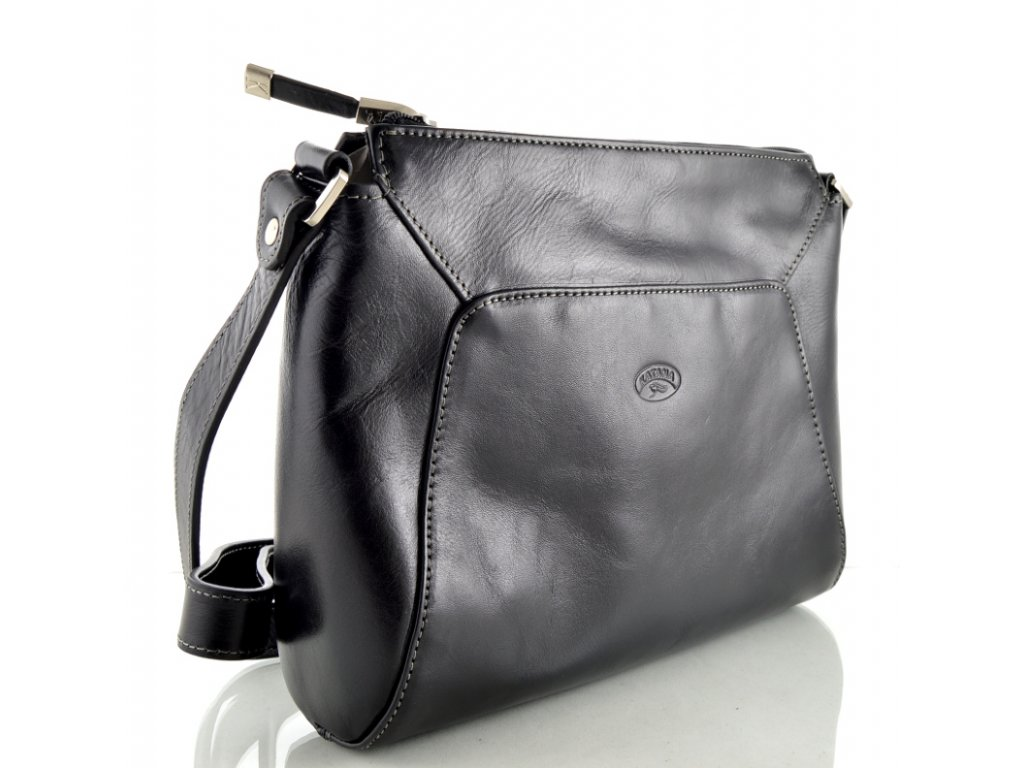 Kožená zipová kabelka přes rameno Katana - černá
