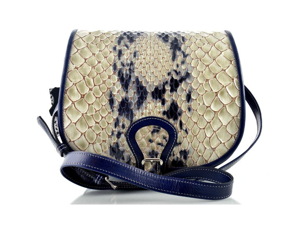 Klopnová lovecká kožená taška Silvercase - modrá se vzorem