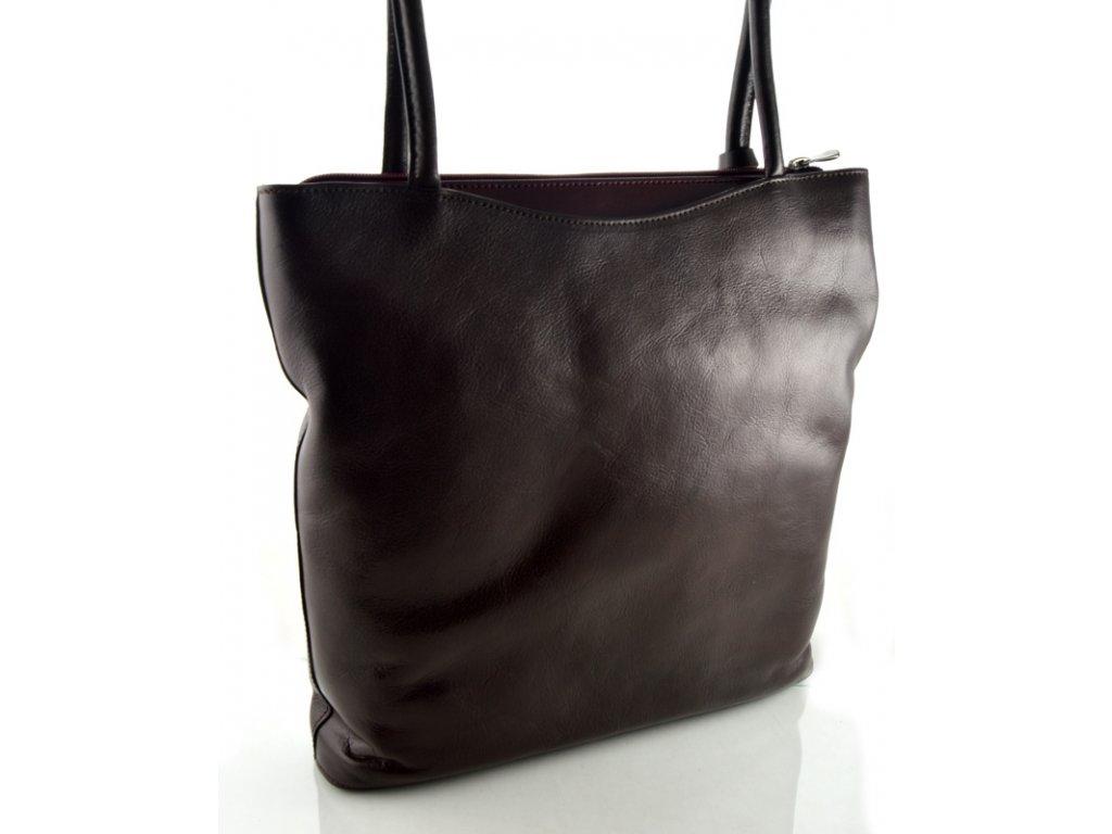 Vysoká kožená kabelka Silvercase - hnědá a rubínová