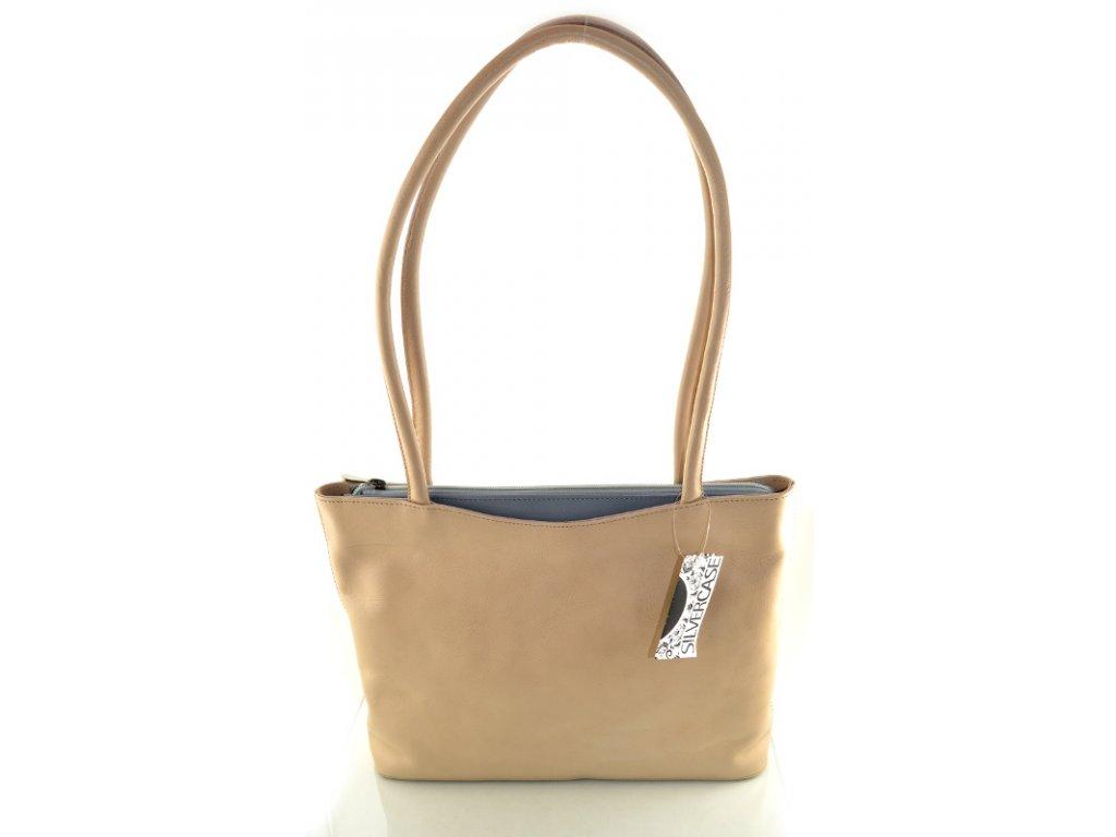 Elegantní kožená kabelka Silvercase - béžová s šedou
