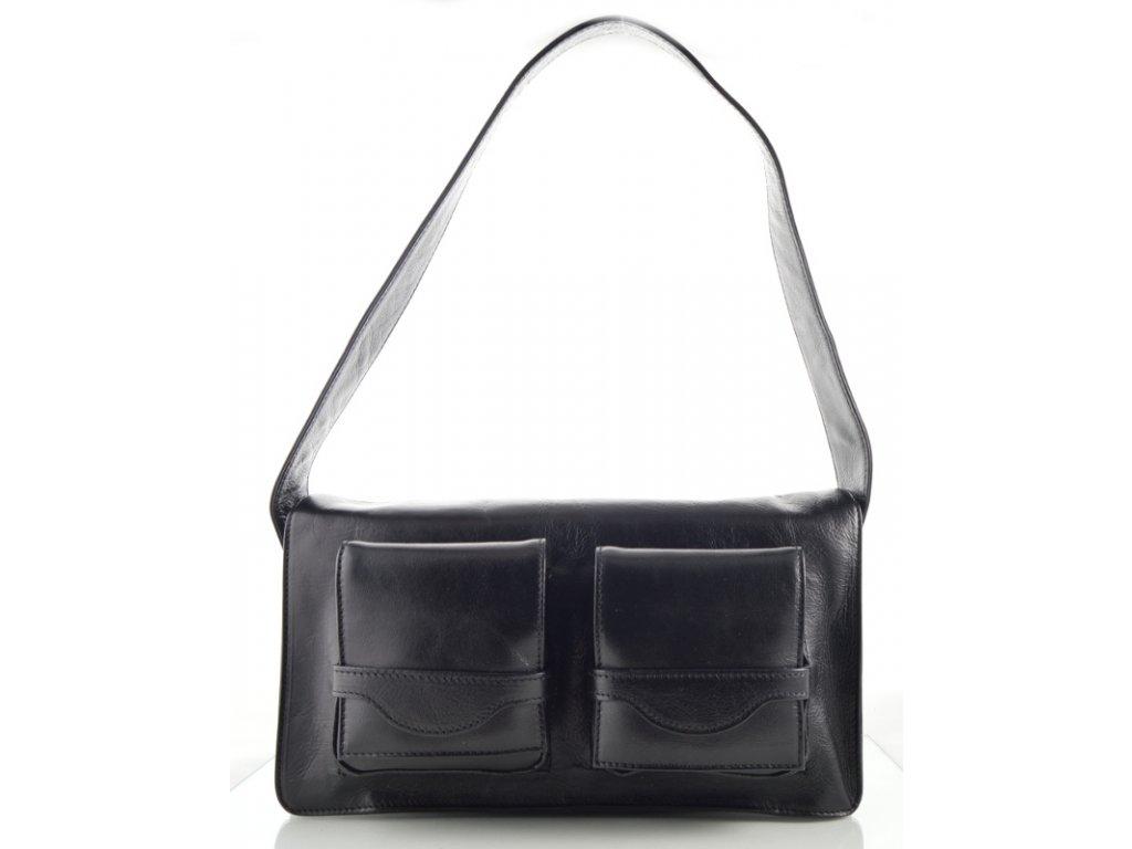Kožená kabelka se dvěma kapsami na klopně - černá