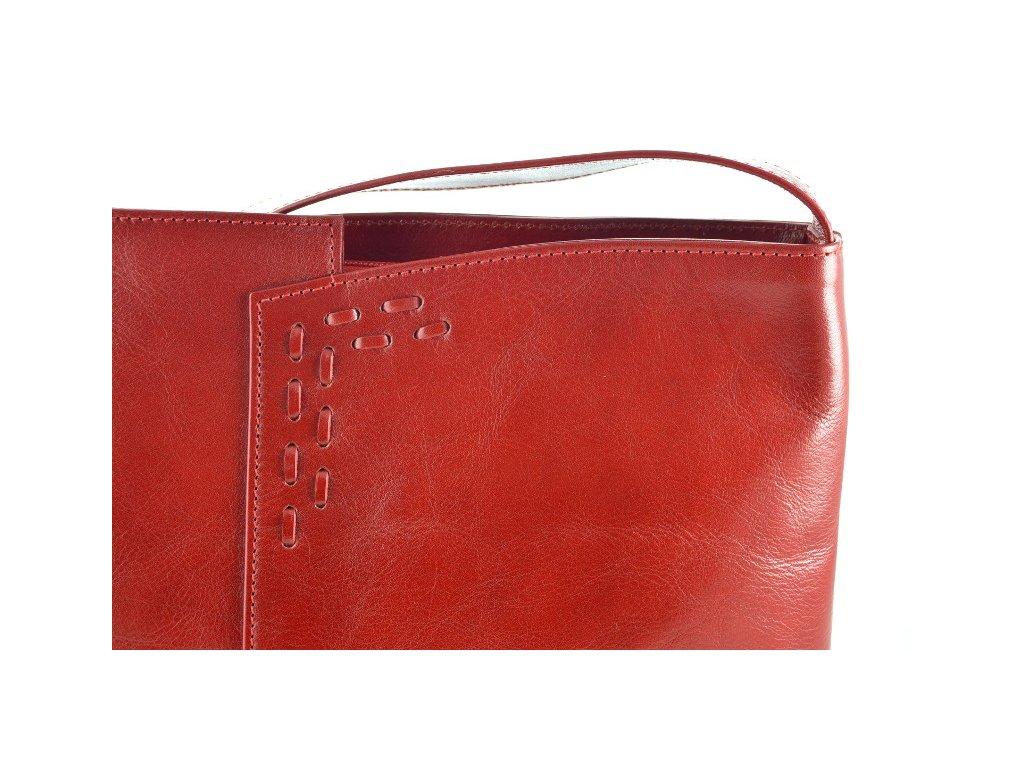 ... Červená kožená kabelka se zdobným prošíváním - červená ... 3e7fb9fce51