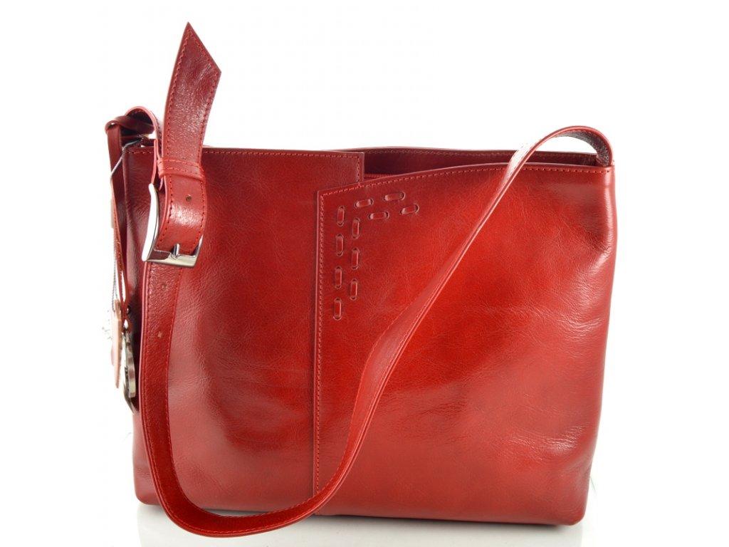 Kožená kabelka se zdobným prošíváním - červená