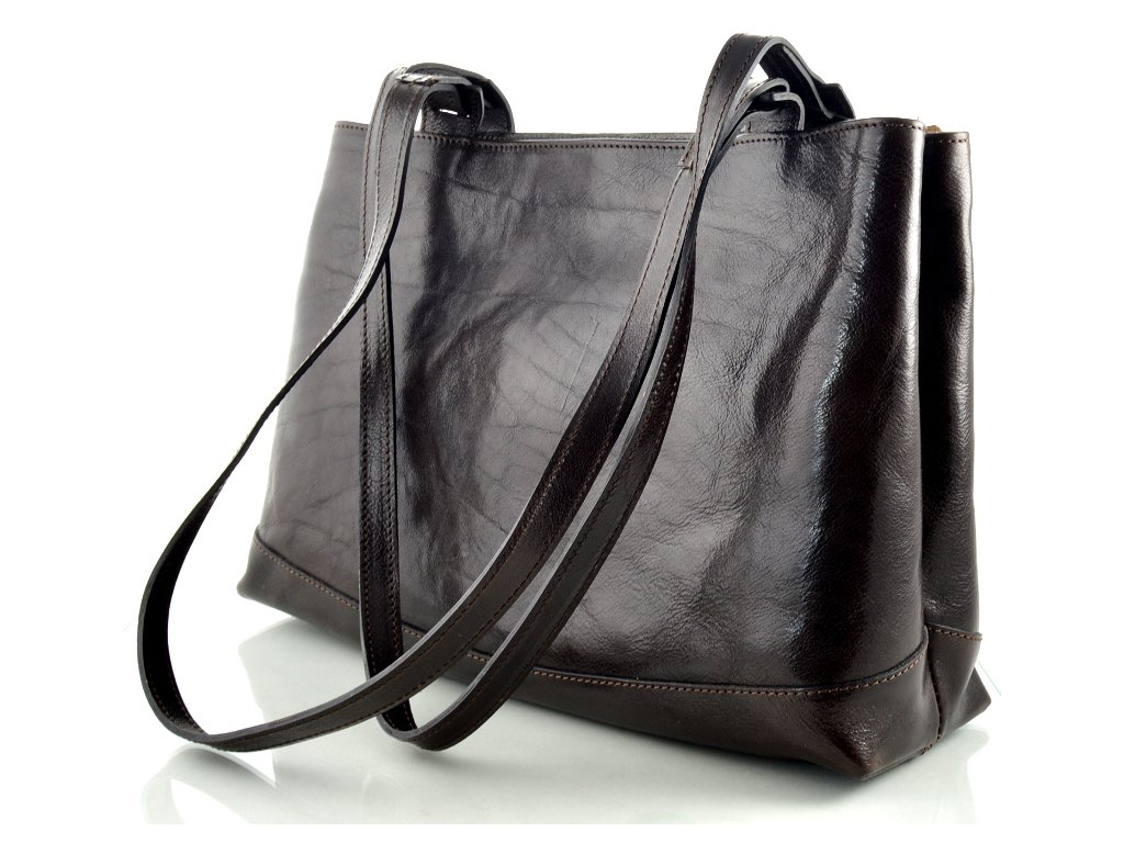 Dvojitá kožená kabelka Silvercase - tmavě hnědá