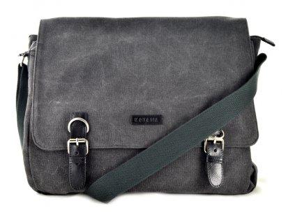 Pánský messenger Katana z pevného textilního materiálu - šedočerný