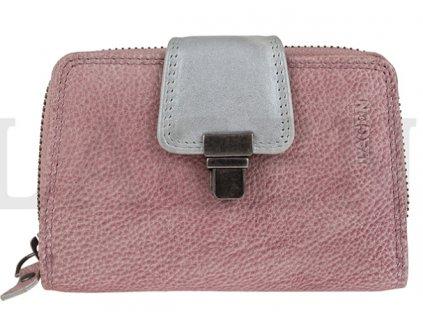 Kožená peněženka Lagen - fialovo šedá