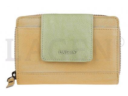 Prostorná kožená peněženka s přezkou Lagen - žlutá