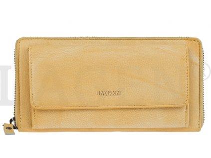 Kožená penálová peněženka s kapsou na TF Lagen - žlutá