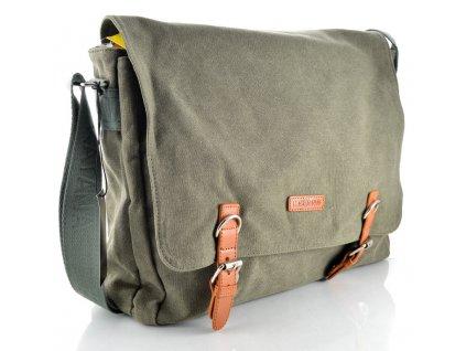 Pánský messenger Katana z pevného textilního materiálu - zelený