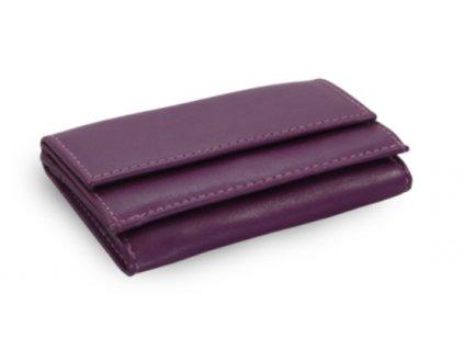 Kožená mini peněženka - fialová