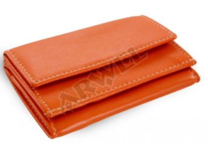 Kožená mini peněženka - oranžová