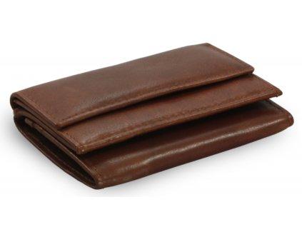 Kožená mini peněženka -tmavě hnědá