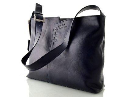 Kožená kabelka Silvercase - tmavě modrá