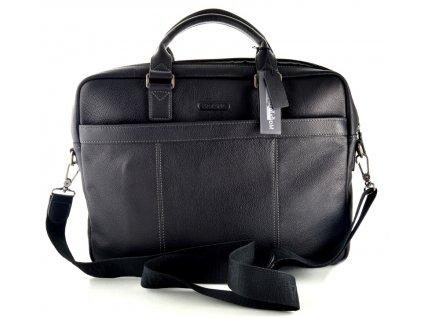 Jednofochová manažerská kožená taška na notebook Katana - černá