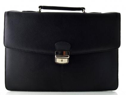 Černá kožená aktovka se třemi vnitřními přihrádkami