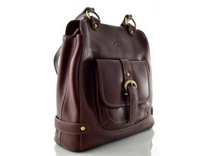 Velký hnědý kožený kabelkobatkůžek Katana
