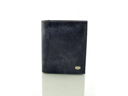 Tmavě modrá kožená peněženka na výšku