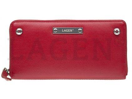 Červená penálová peněženka Lagen s knoflíčky