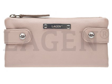 Kožená rozevírací peněženka Lagen - pudrová