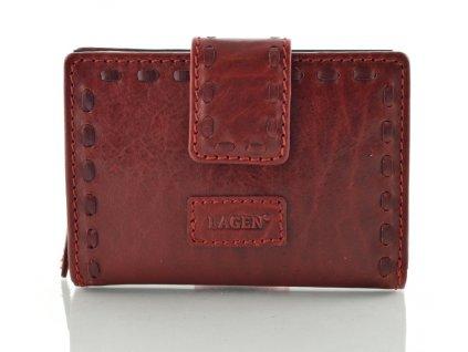 Kožená dámská peněženka s prošitým páskem značky Lagen - červená