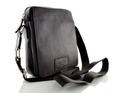 Tmavě hnědá kožená taška přes rameno Lagen