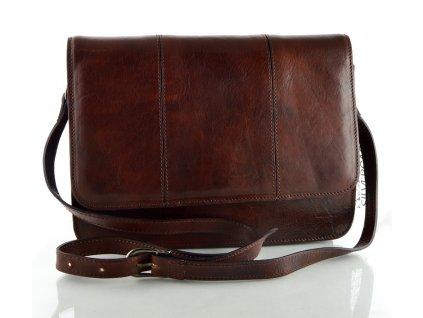 Klopnová kožená taška Silvercase - kaštan