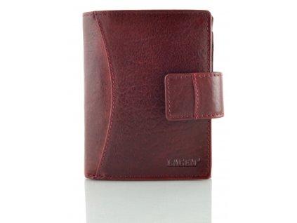 Prostorná kožená peněženka Lagen - vínová