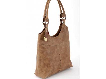 Vysoká kožená kabelka Silvercase - světle hnědá
