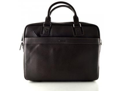 Dvoufochová manažerská kožená taška na notebook Katana - tmavě hnědá