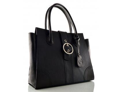 Kožená kabelka se sponou Silvercase - černá