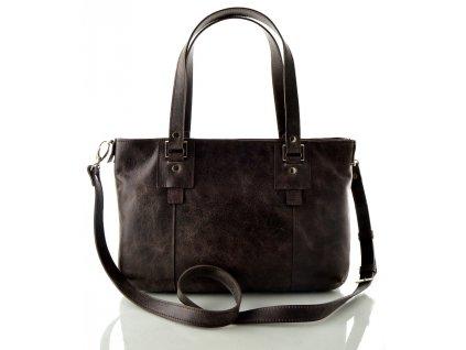 Dvojitá kožená kabelka Silvercase - tmavě hnědá rustik