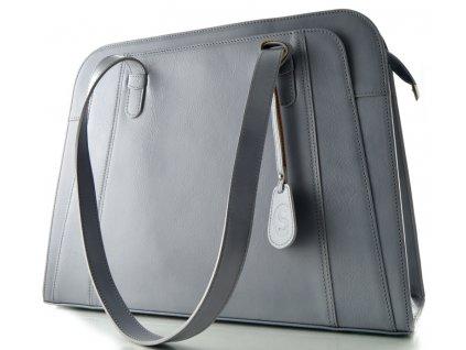 Velká manažerská kožená kabelka Silvercase - světle šedá