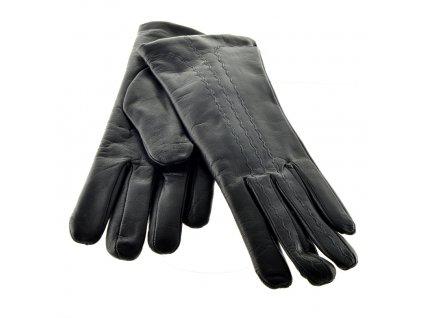 Kožené dámské rukavice s ozdobným šitím černé