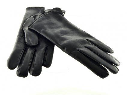 Hladké pánské kožené rukavice černé barvy s podšívkou