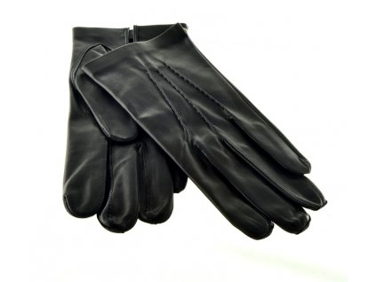Černé pánské kožené rukavice bez podšívky