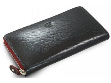 Kožená penálová peněženka Arwel - černá