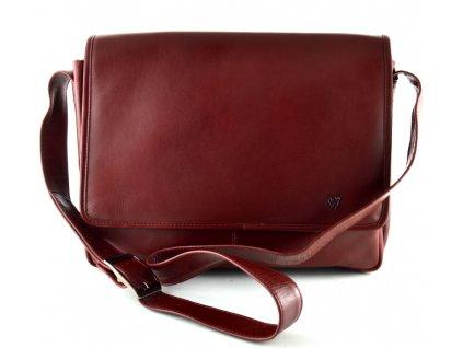 Klopnová kožená taška přes rameno Arwel- vínová