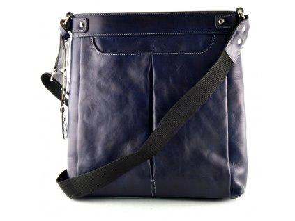 Velká dámská kožená taška přes rameno Silvercase - modrá lesklá