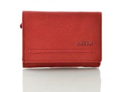 Menší kožená peněženka Lagen - červená