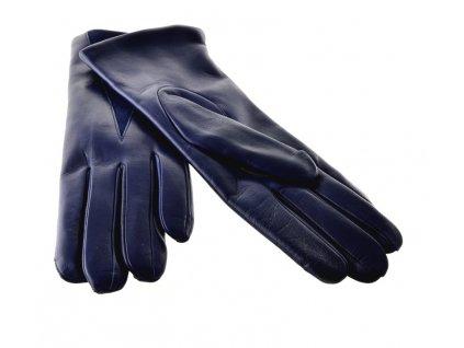 Tmavě modré kožené dámské rukavice s podšívkou
