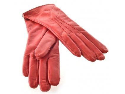 Červené kožené dámské rukavice s trojitou vlnkou