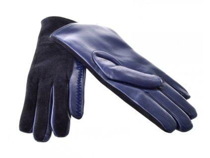 Černo-modré dámské kožené rukavice