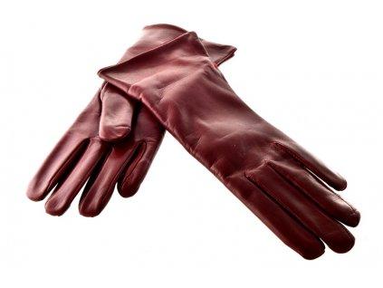 Dámské kožené rukavice - bordo