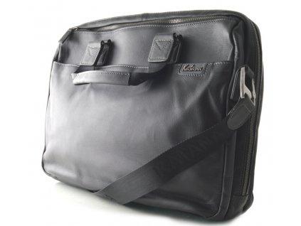 Prostorná manažerská kožená taška Katana - černá