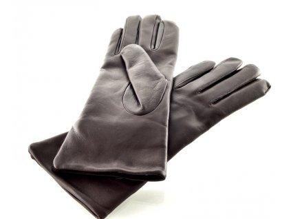 Dámské kožené rukavice - tmavě hnědé