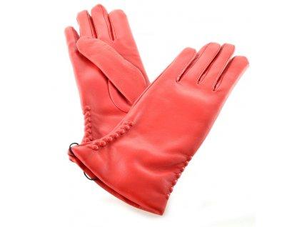 Červené kožené dámské rukavice s ražbou
