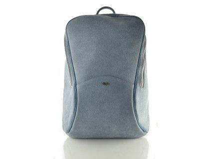 Vysoký kožený batoh Hanj - modrý