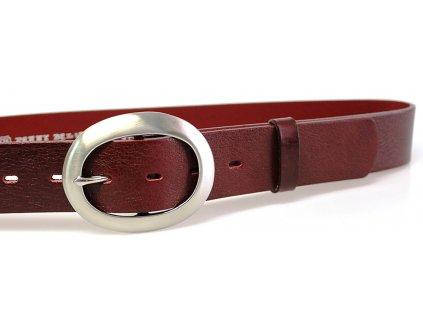 Vínový kožený dámský opasek - Penny Belts